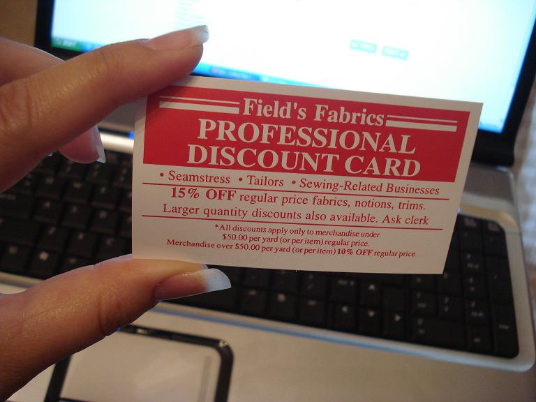 Field's discount card