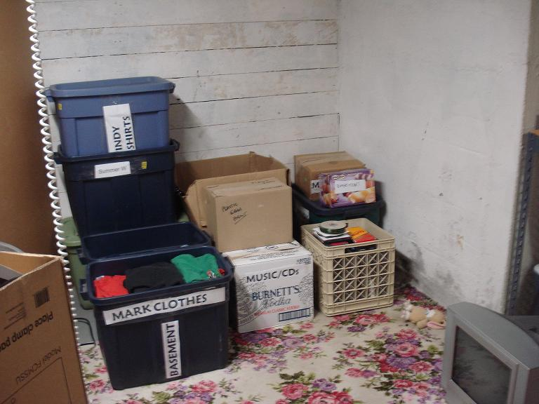 Basement packed boxes