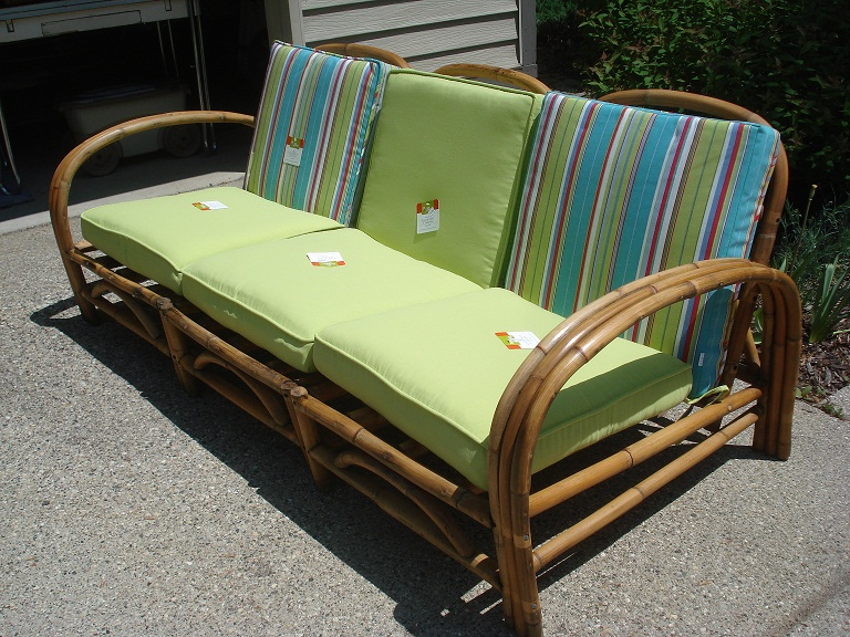 Rattan sectional with cushions